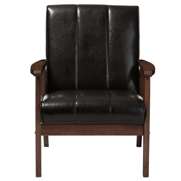 Nikko Scandinavian Dark Brown Faux Leather Upholstered Accent Chair