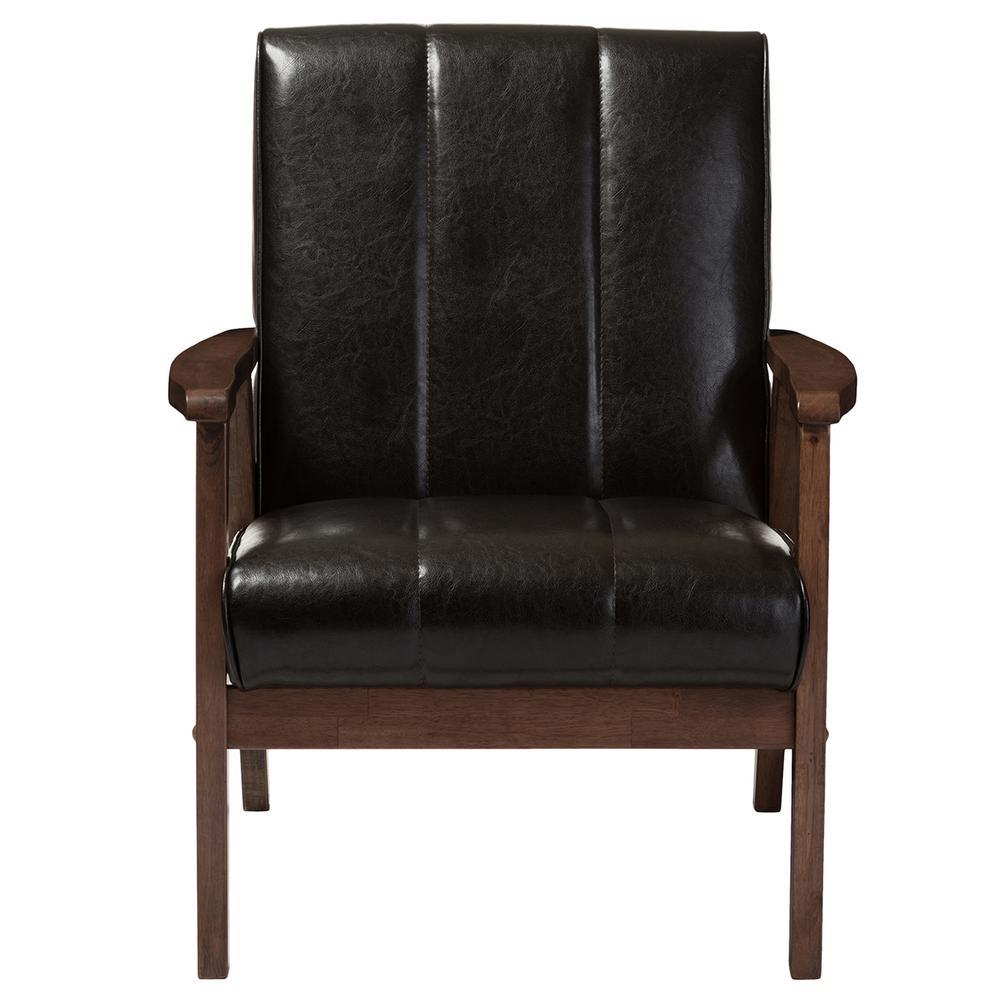 Baxton Studio Nikko Scandinavian Dark Brown Faux Leather Upholstered Accent Chair