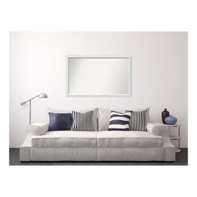 Medium Rectangle White Modern Mirror (33 in. H x 52 in. W)