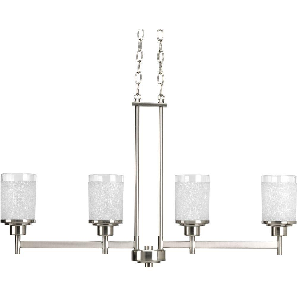 Alexa Collection 4-Light Brushed Nickel Chandelier with Shade with White Linen