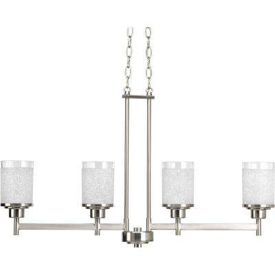 Alexa Collection 4-Light Brushed Nickel Chandelier with White Linen Glass Shade