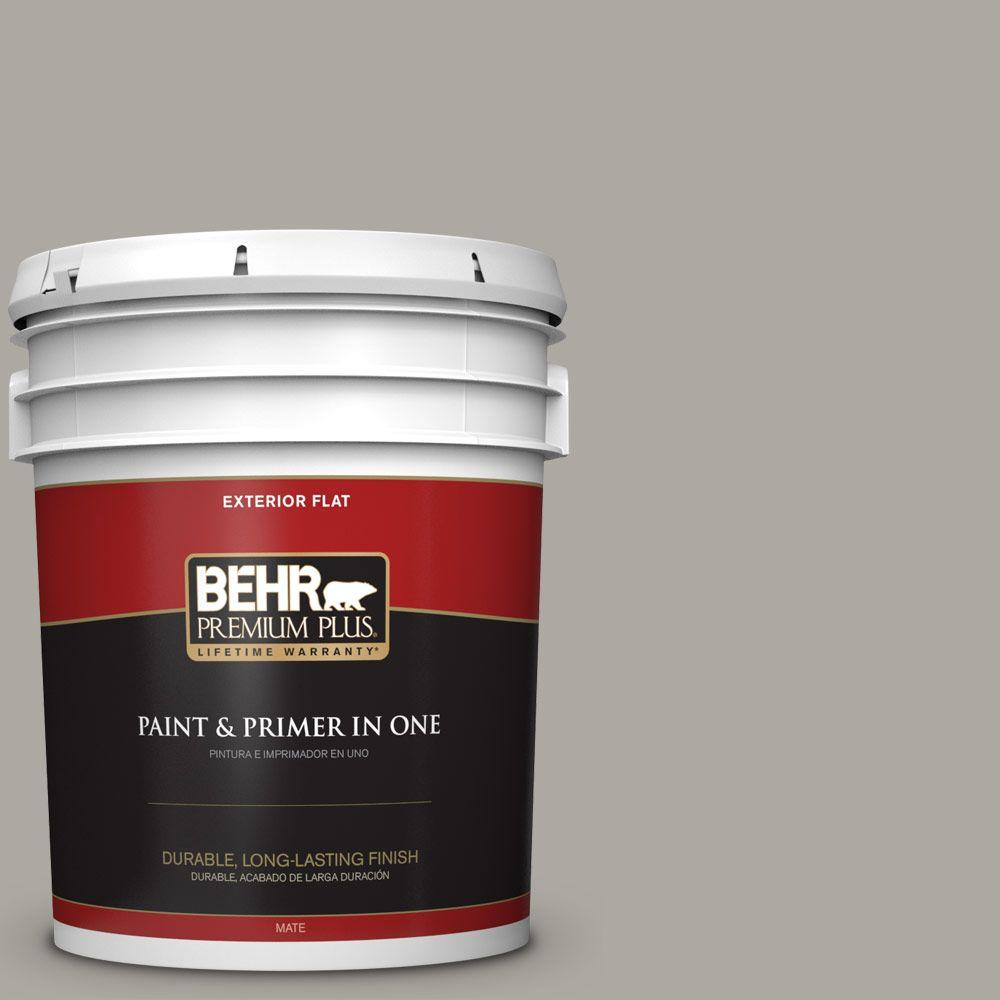 BEHR Premium Plus 5-gal. #N360-3 Still Gray Flat Exterior Paint