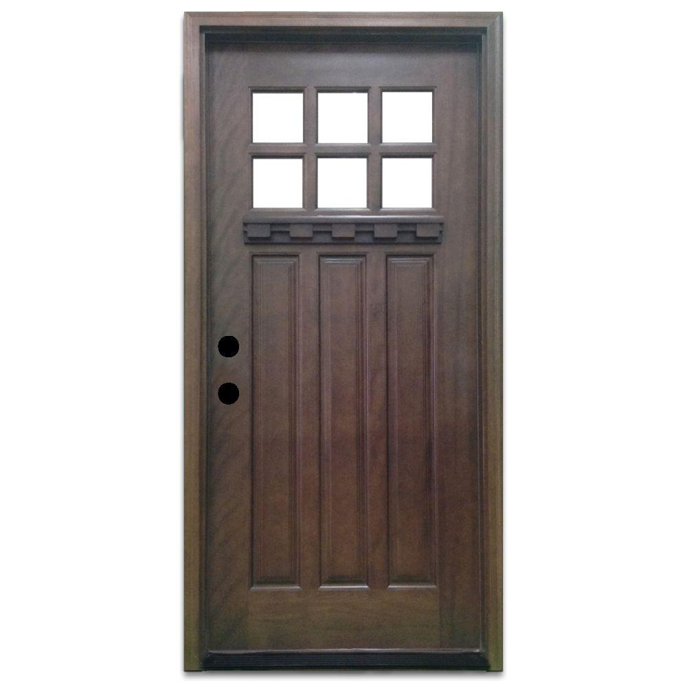 Steves & Sons 32 in. x 80 in. Craftsman 6 Lite Stained Mahogany Wood Prehung Front Door