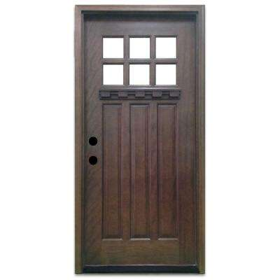 Great Craftsman 6 Lite Stained Mahogany Wood Prehung Front Door