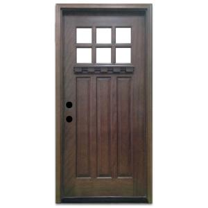 36 in. x 80 in. Craftsman 6 Lite Stained Mahogany Wood Prehung Front Door