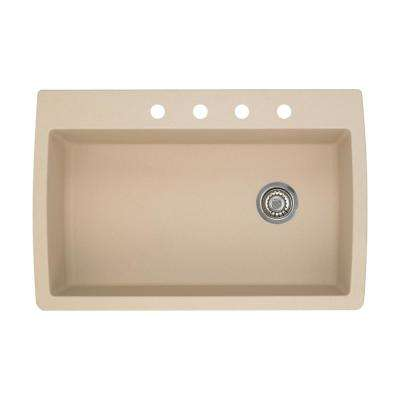 Diamond Dual-Mount Granite 33.5 in. 4-Hole Single Bowl Kitchen Sink in Biscotti