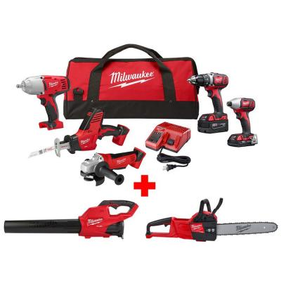 M18 18-Volt Lithium-Ion Cordless Combo Tool Kit (5-Tool) with M18 FUEL Chainsaw and Blower