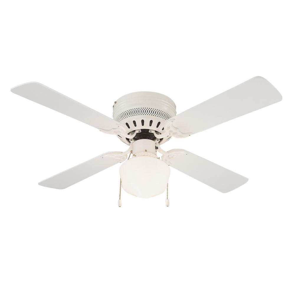 Millbridge 42 in. White Ceiling Hugger Fan with Light Kit