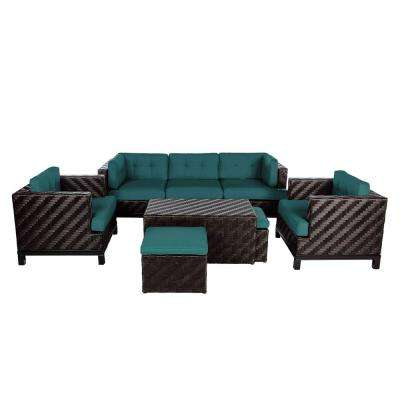 Rachel 8-Piece Wicker Patio Deep Seating Conversation Set with Spectrum Peacock Cushions