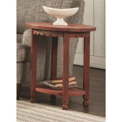 Country Cottage Red Antique Round End Table