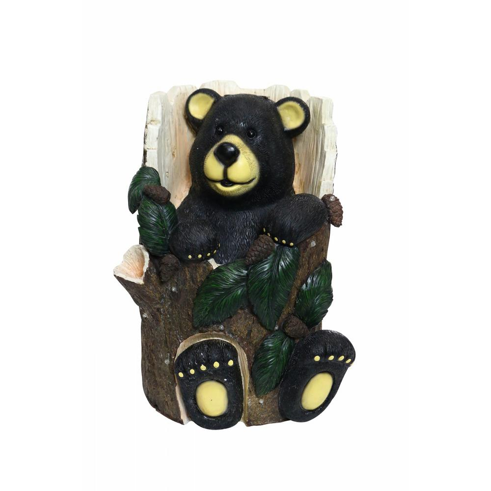 Bear Sitting in Tree Trunk Statue with Color Changing LEDs