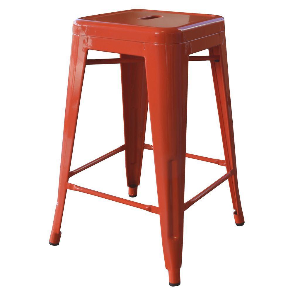Loft Style 24 in. Stackable Metal Bar Stool in Orange