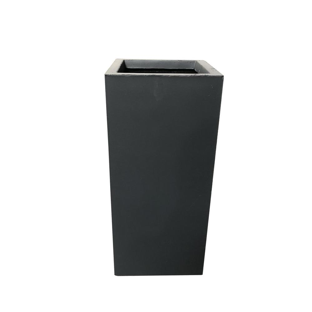 KANTE 24 in. Tall Charcoal Lightweight Concrete Rectangle Modern Outdoor Planter