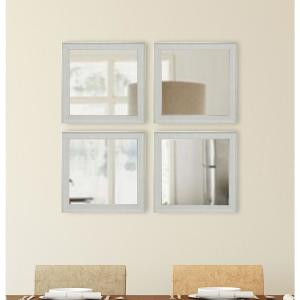 15.5 inch x 15.5 inch Vintage White Square Mirrors (Set of 4) by