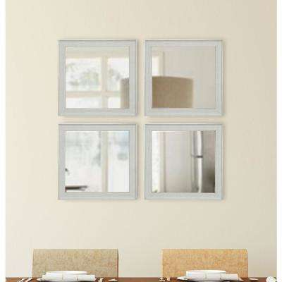 15.5 in. x 15.5 in. Vintage White Square Mirrors (Set of 4)