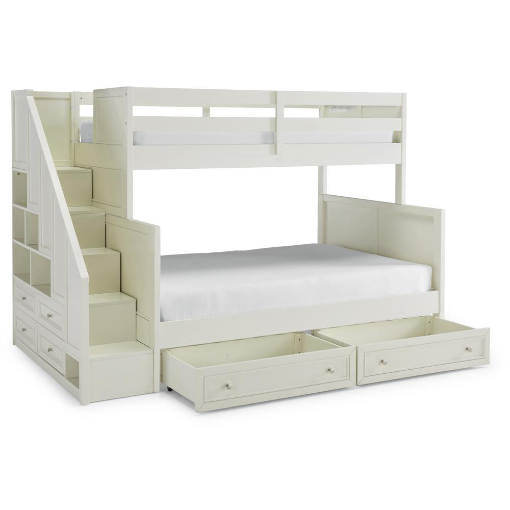 Homestyles Naples Off White Twin Over Full Bunk Bed With Steps And