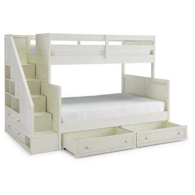 Naples Off White Twin over Full Bunk Bed with Steps & Lower Storage-Drawers