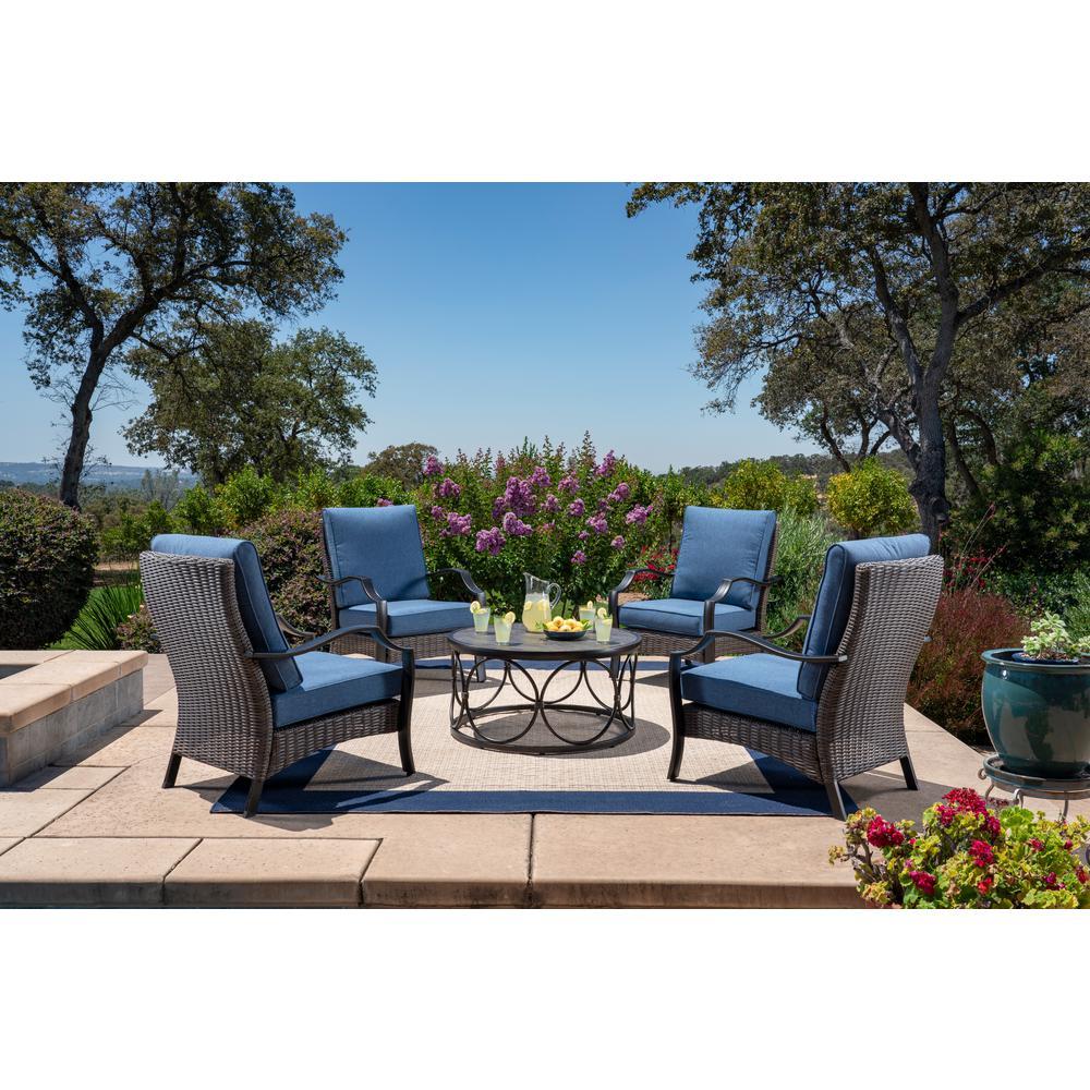 Laurelton 5-Piece Wicker Patio Conversation Set with Blue Cushions