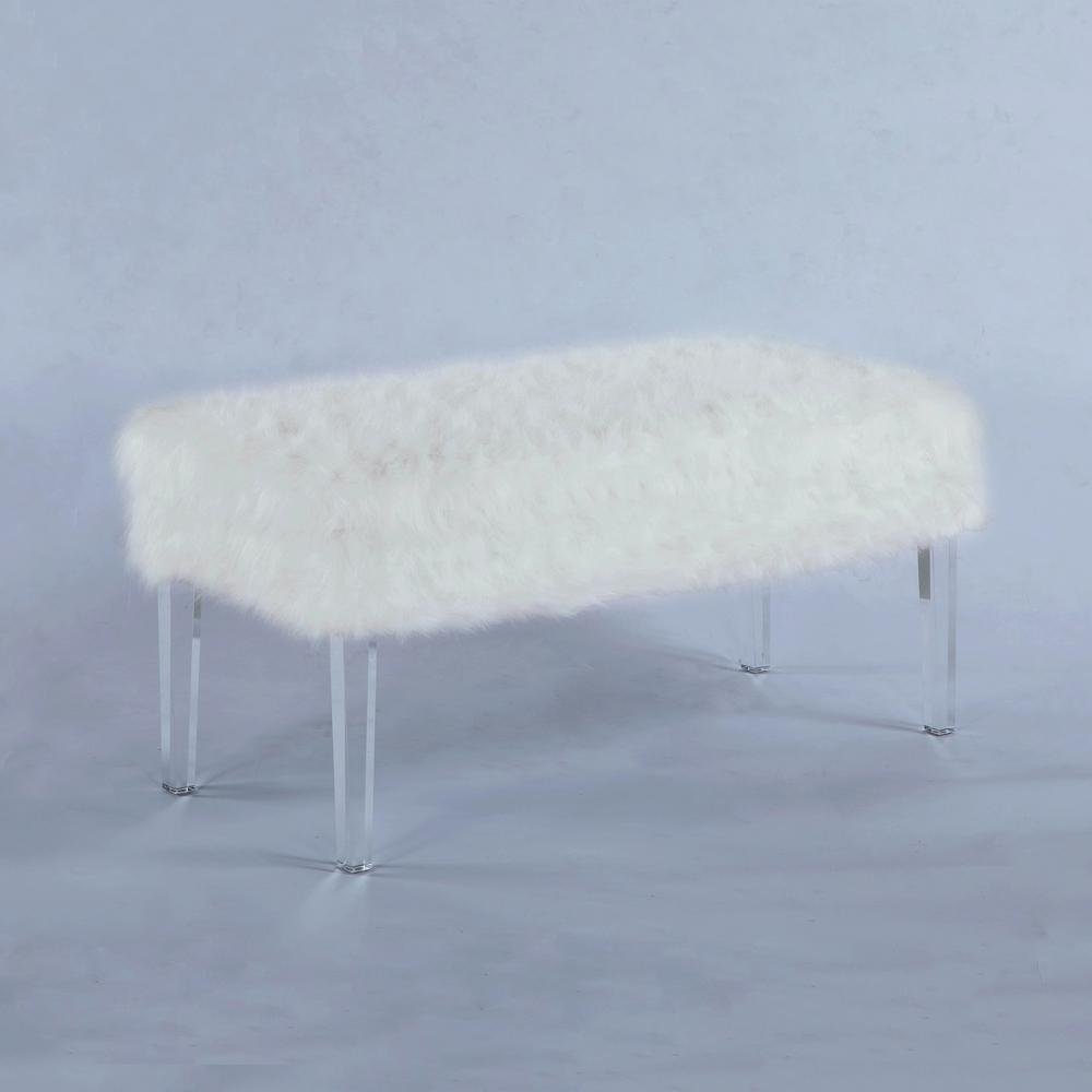 20 in. White Faux Fur All Over Storage Bench with Acrylic