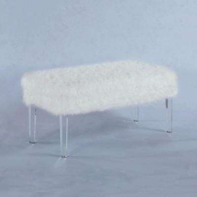 20 in. White Faux Fur All Over Storage Bench with Acrylic Legs