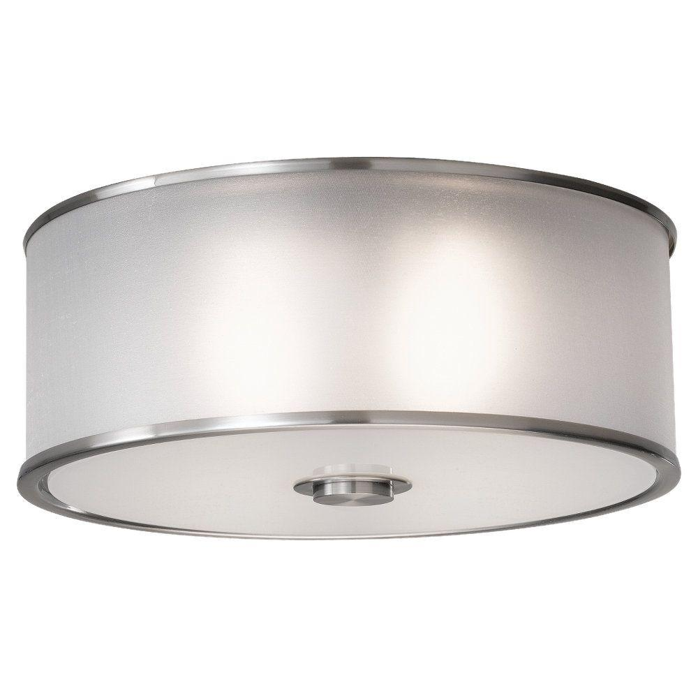 Feiss Casual Luxury 2 Light Brushed Steel Indoor Flushmount