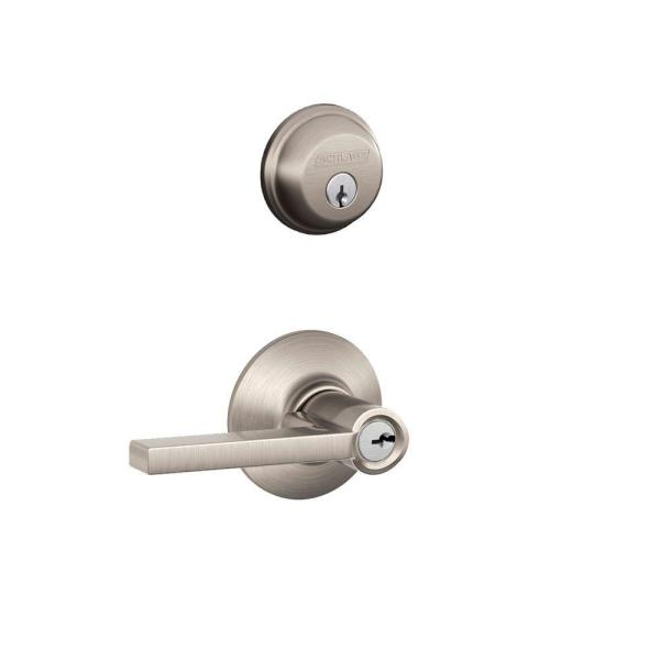 Satin Nickel Single Cylinder Deadbolt with Latitude Entry Door Lever Combo Pack