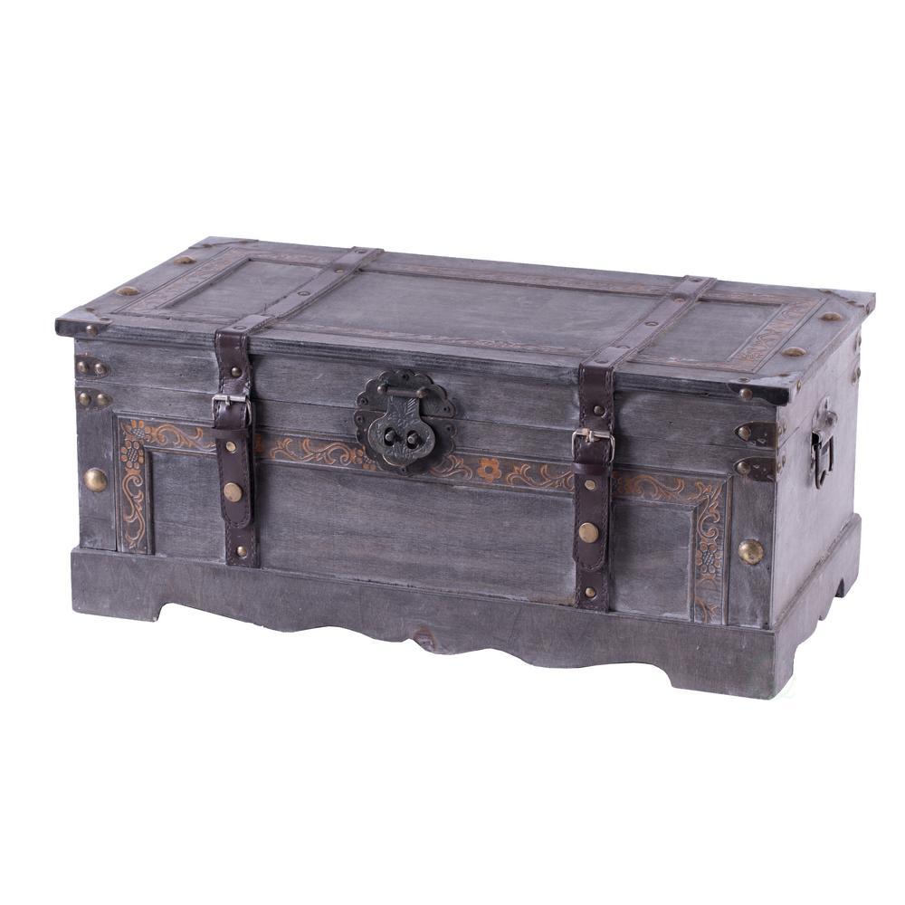 Vintage Style Gray Wooden Storage Trunk