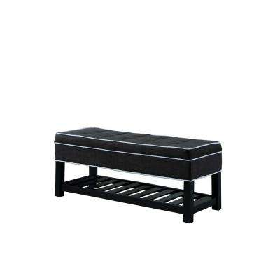 17.5 in. Charcoal Gray with White Piping Tufted Storage Shoe Bench