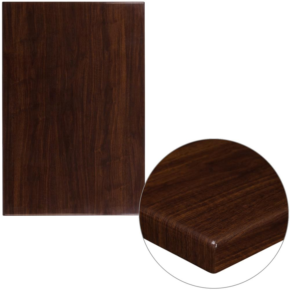 Flash Furniture In X In HighGloss Walnut Resin Table Top - Thick wood table top
