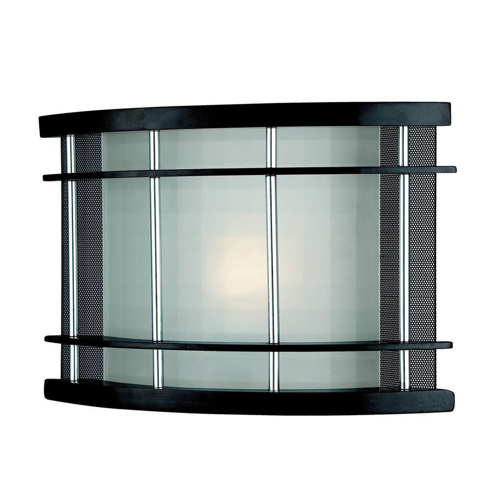 1-Light Dark Walnut Sconce with Frost Glass