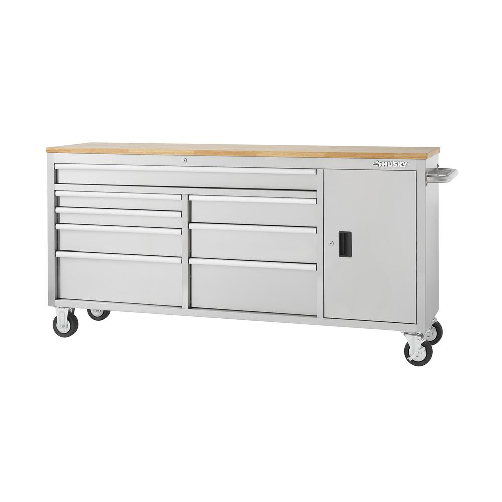 Husky 72 in. 8-Drawer and 1-Door Mobile Workbench in Stainless Steel