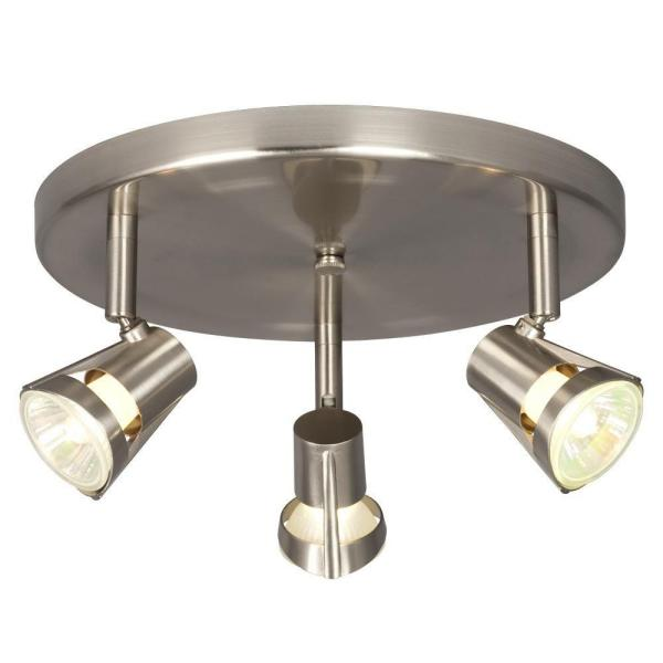 Negron 3-Light Brushed Nickel Track Head Spotlight with Directional Heads