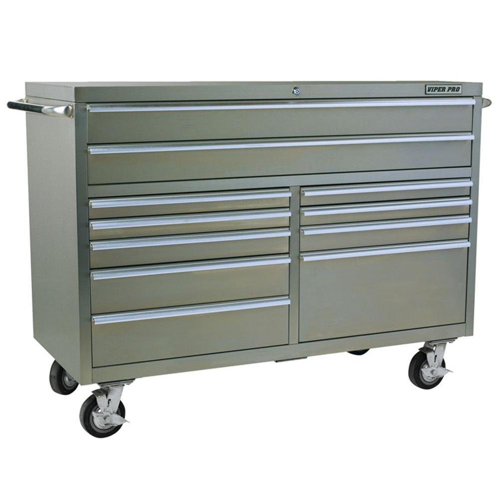 Viper PRO 60 in. 11-Drawer Cabinet in Stainless Steel