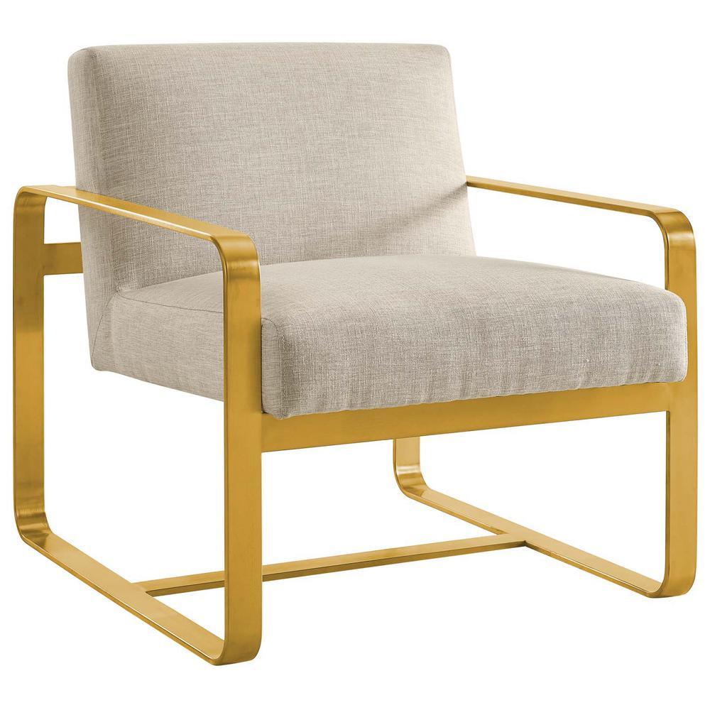 Astute Beige Upholstered Velvet Armchair