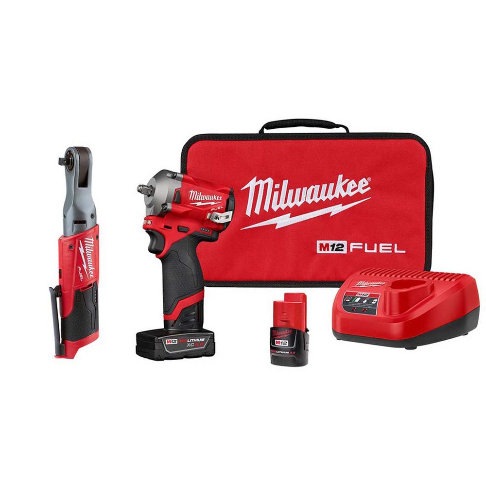 Milwaukee M12 FUEL 12-Volt Lithium-Ion Brushless Cordless Stubby 3/8 in. Impact Wrench & Ratchet Combo Kit (2-Tool)