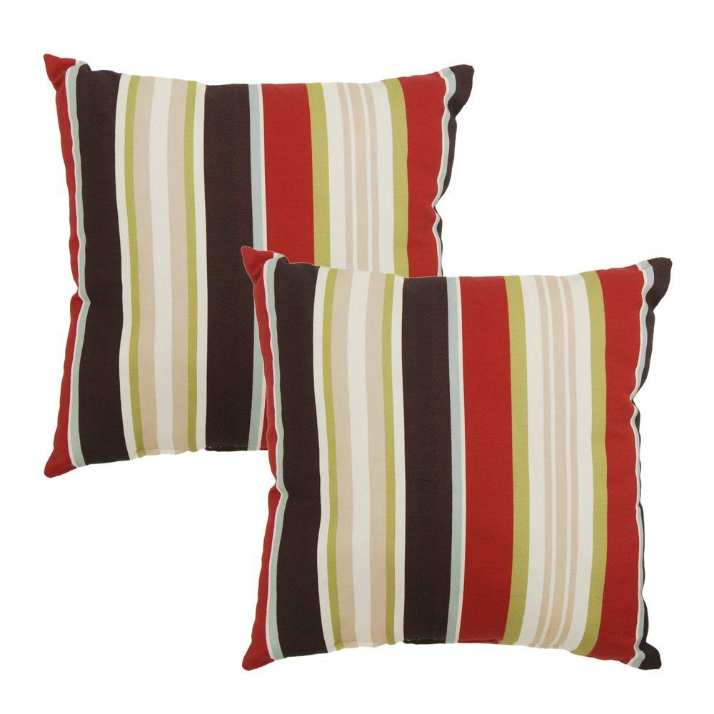 Majestic Stripe Square Outdoor Throw Pillow (2-Pack)