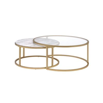 Shanish Faux Marble and Gold 2-Piece Pack Coffee Table Set