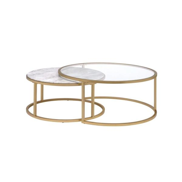 Acme Furniture Shanish Faux Marble and Gold 2 Piece Pack Coffee Table Set
