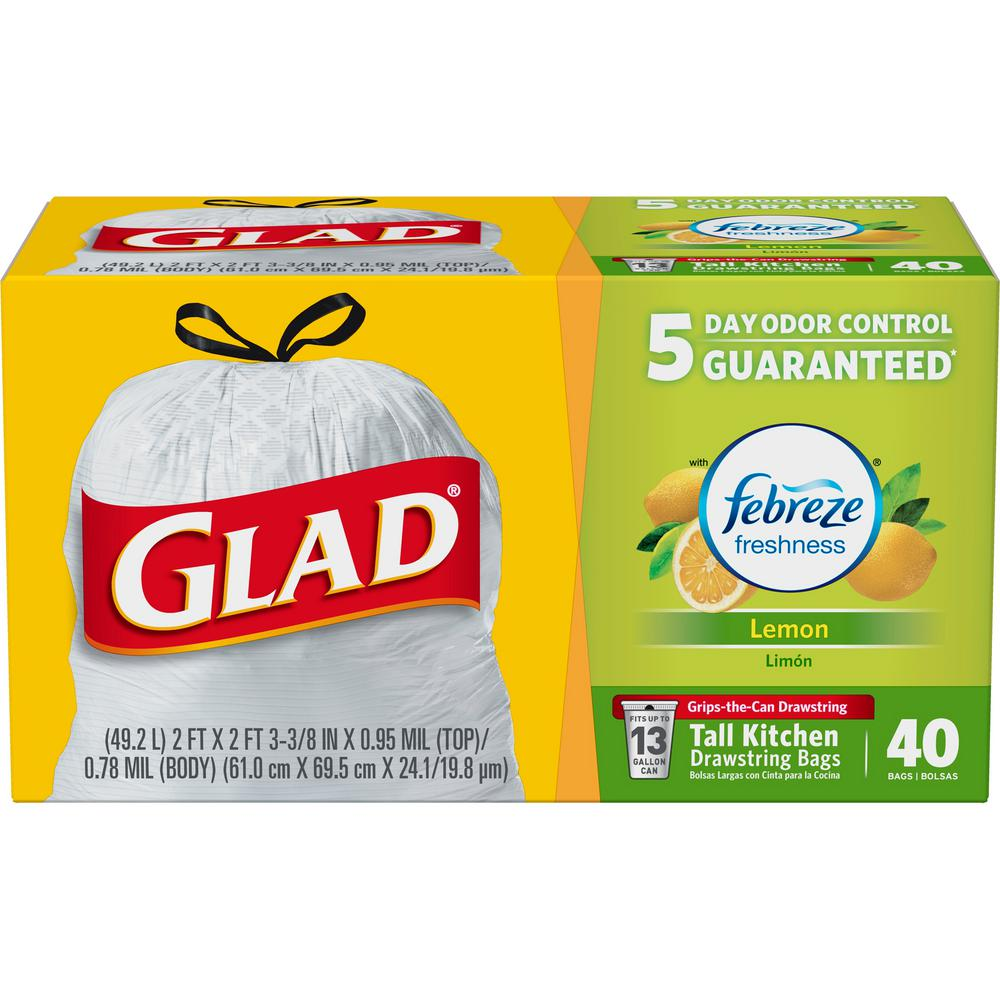 Glad 13 Gal Fresh Lemon Febreze Odor Shield Drawstring 40Count