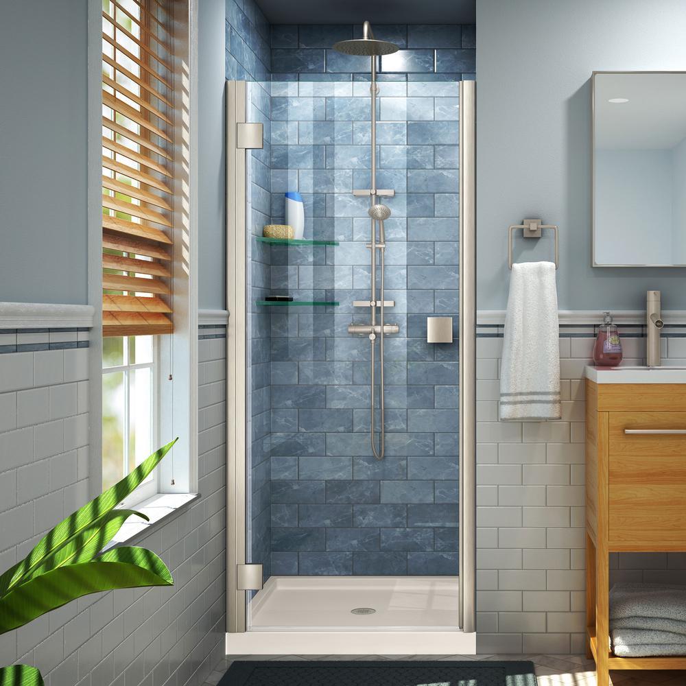 Lumen 42 in. x 72 in. Semi-Frameless Hinged Shower Door in Brushed Nickel with 42 in. x 36 in. Base in Biscuit
