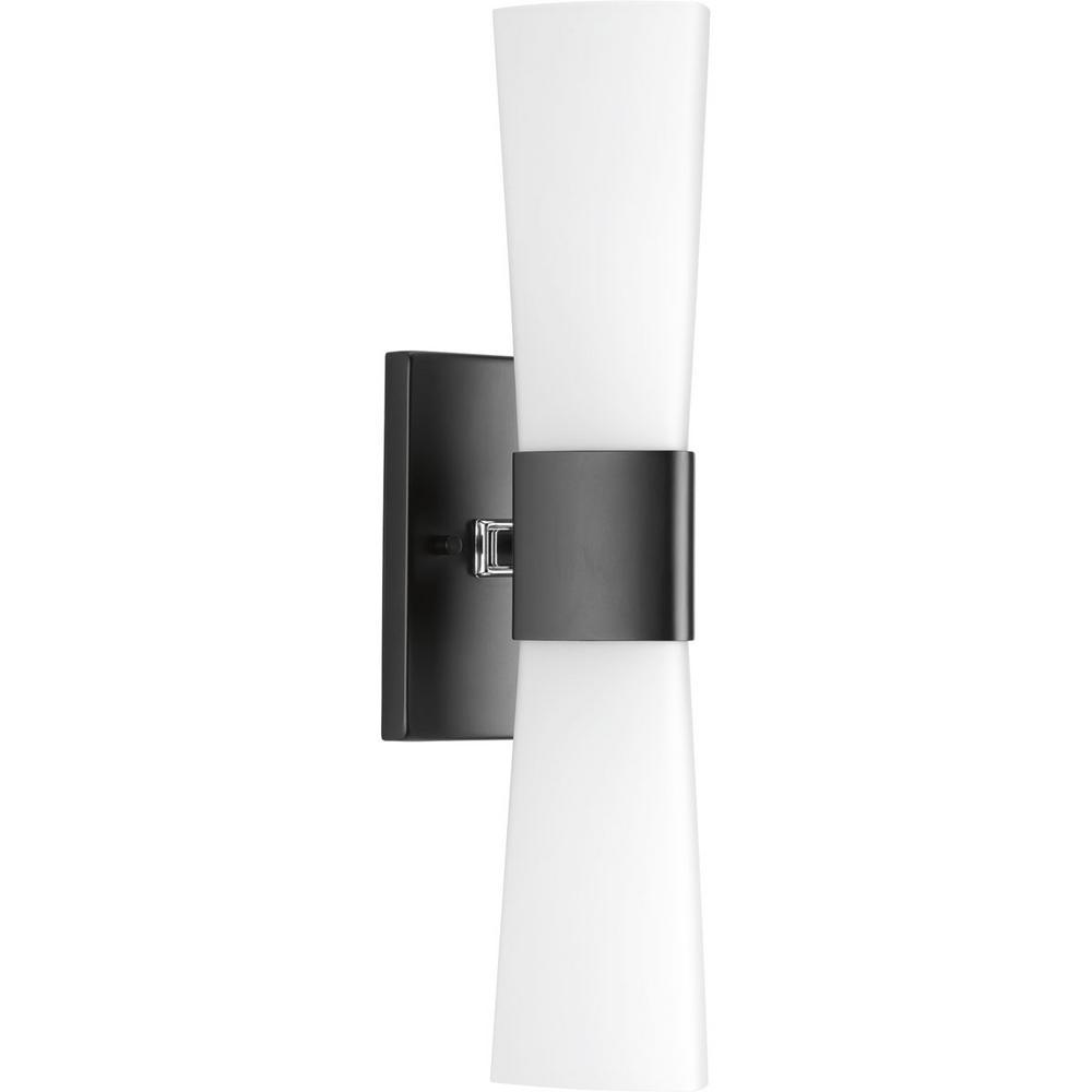 Progress lighting zura collection 2 light black bathroom vanity light
