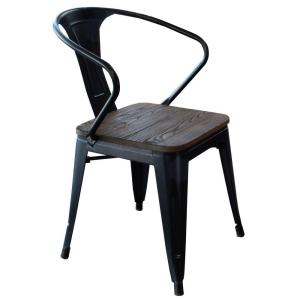 Internet #205941547. +2. AmeriHome Black Metal And Wood Dining Chair ...