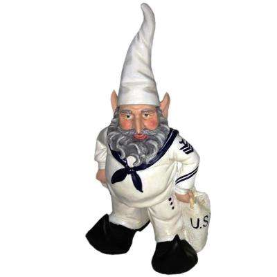 14 in. H Navy Sailor Gnome in White Uniform with Duffel Bag Home and Garden Gnome Statue