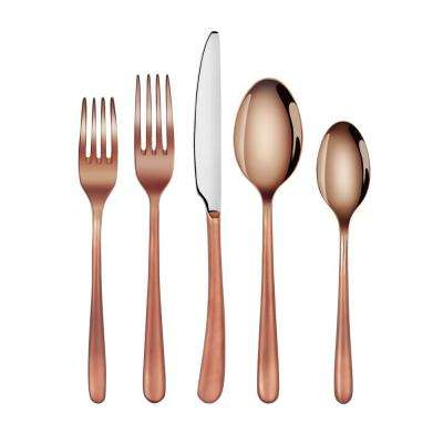 Rain II Forged 18/10 Stainless Steel Flatware 20-Piece Set, Antique Copper Finshed, Service for 4