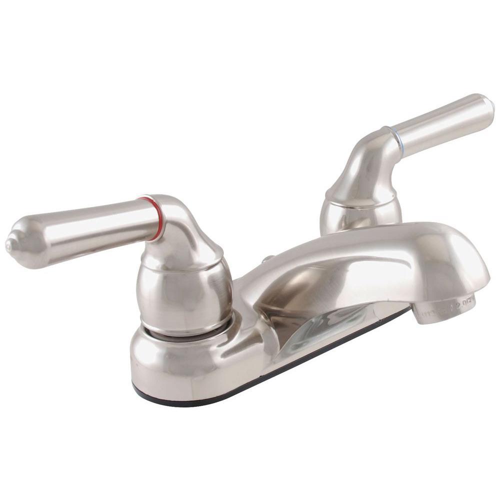 Exquisite 4 in. Centerset 2-Handle Low Lead Bathroom Faucet in Brushed Nickel