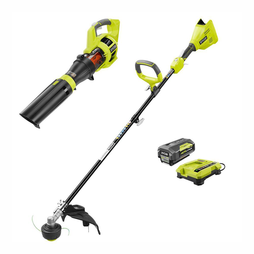 RYOBI 40-Volt Lithium-Ion Cordless Brushless String Trimmer/Jet Fan Blower Combo Kit - 3.0 Ah Battery and Charger Included