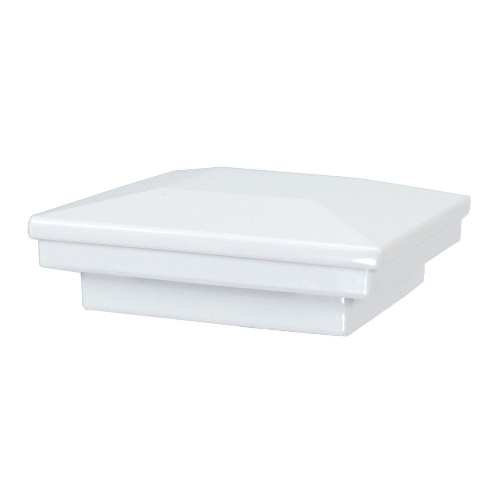 Fortress Accents 3 in. x 3 in. White Aluminum Flat Pyramid Post Cap