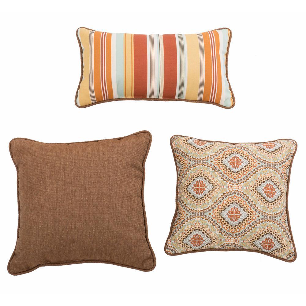 Magic Carpet Ogee Ginger Square and Outdoor Lumbar Throw Pillow (3-Pack)