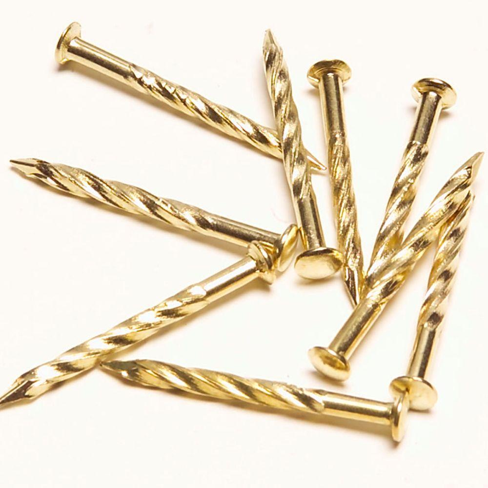 Satin Brass 1-1/4 in. Floor Metal Screw Nails