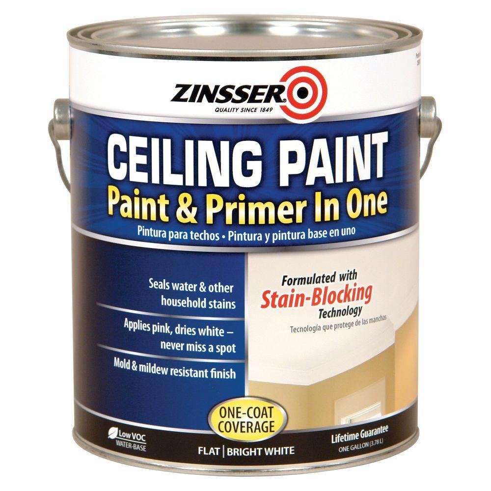 Paint And Primer >> Zinsser 1 Gal Flat Bright White Ceiling Paint And Primer In One 2